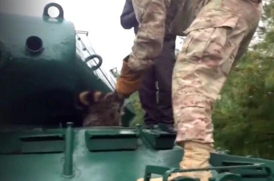 浣熊鑽坦克車反被卡住倒插蔥,屁屁朝天哀求士兵幫忙