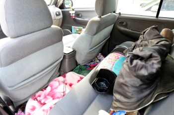 The inside of the Kia Sportage where Elena and her daughters sleep. April 29, 2016. Megan Wood, inewsource.