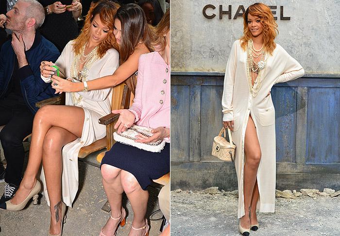 Rihanna vai a desfile da Chanel com tudo à mostra, inclusive o piercing no mamilo