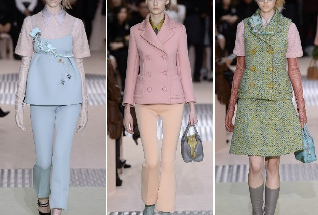 A Prada apostou em candy colors para as temperaturas baixas (Foto: Getty Images)