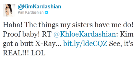 Kardashian tweet Kim Kardashian Says Its 100% Real