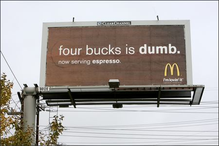 mcdonalds anti starbucks billboard mcdonalds anti starbucks billboard