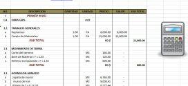 Hoja de Excel – Presupuesto Formaletas