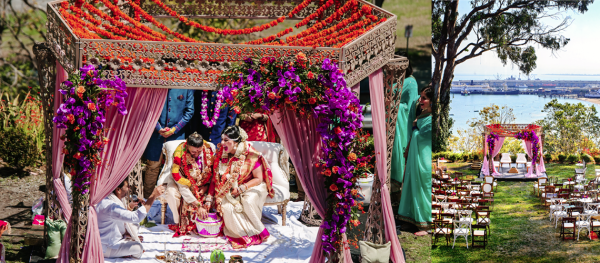 Indian wedding in purple and orange