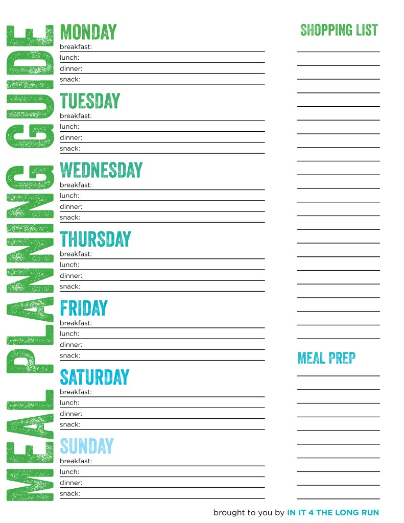 Meal planning grocery shopping and food prepping for the for Meal planning template with grocery list