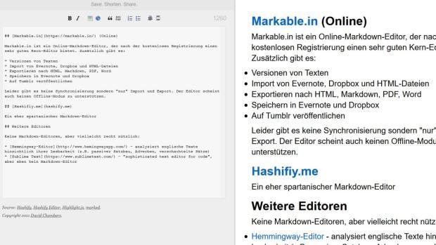 Markdown-Editoren: Hashify