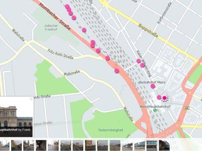 Wegeskizze: Mainz Hbf zum Coworking M1