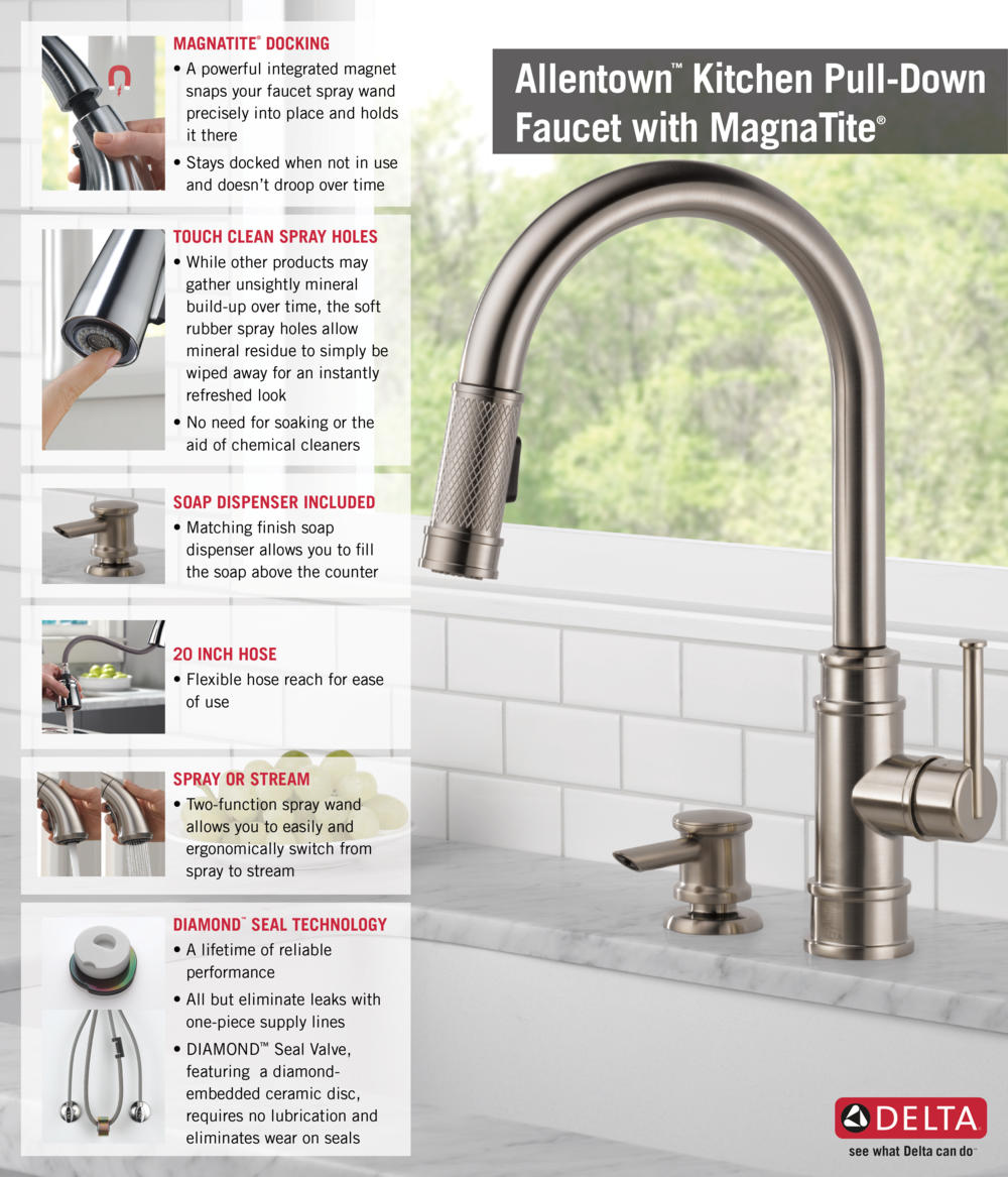 delta kitchen faucet Home Depot Delta Faucet Pull Down with Soap Dispenser Kitchen Infographic