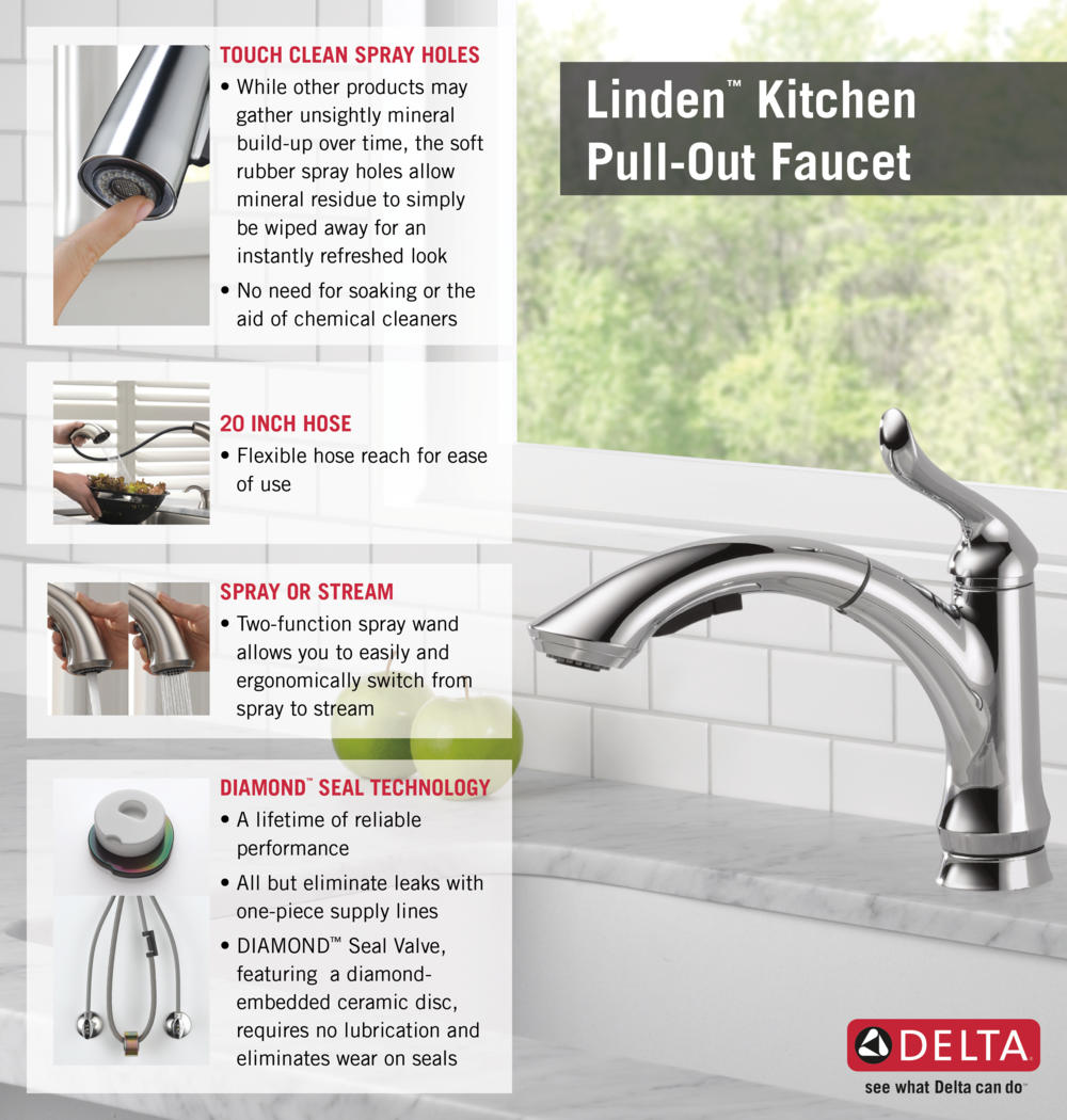 delta linden kitchen faucet Home Depot Delta Faucet Pull Out Kitchen Infographic