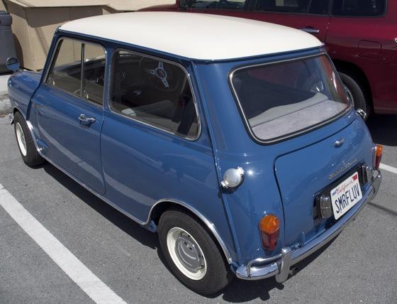 A blue Morris Cooper Mini