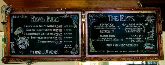 Chalkboard menu at Freewheel Brewery