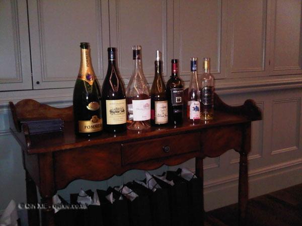 Wines at Harrods wine shop dinner