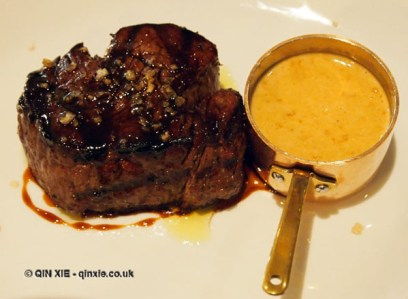Fillet steak with peppercorn sauce at Bistro du Vin, Soho