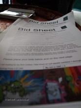 Bidding sheet at Kirin Ichiban Yatai