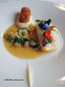 Halibut with parsnip and lardo at The Elephant Restaurant, Torquay
