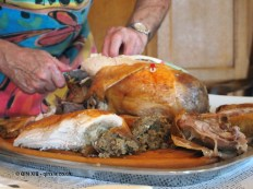 Traditional turkey being carved at Copas