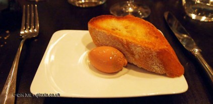 Foie gras parfait with warm toast at The Lawn Bistro