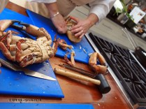 Opening crab at Fish in a Day, Food Safari