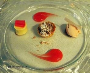 Taste of rhubarb, crumble, ginger custard, ice cream at thirty six by Nigel Mendham, Dukes Hotel