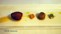 Scallop with smoked eel, cauliflower, Granny Smith at thirty six by Nigel Mendham, Dukes Hotel