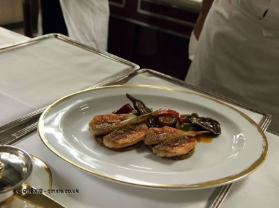 Red mullet with aubergine and peppers close up, 25th Anniversary Celebration Menu at Alain Ducasse's Le Louis XV in Monte Carlo, Monaco