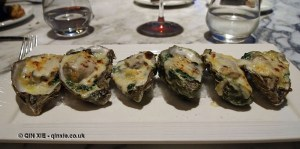 Baked oysters, Gillray's Steakhouse, Marriott County Hall