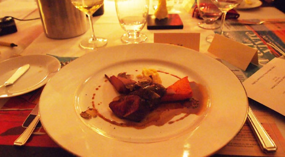 Roast loin of highland venison, celeriac and truffle puree, caramelized pumpkin and poached Williams pear, venison jus, Pays d'Oc dinner at Gauthier Soho