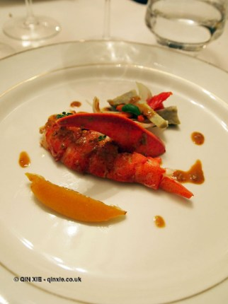 Warm lobster salad, confit lemon, tomatoes and artichokes, coral and grain mustard dressing, Brancott Estate dinner at Gauthier Soho