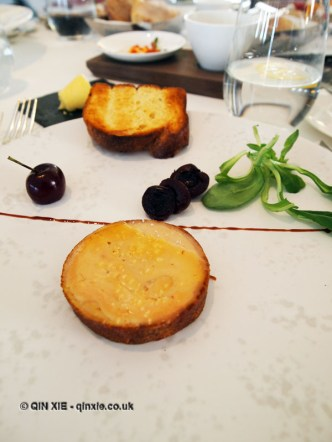 Ballotine of foie gras, pain d'épice, poached cherries & mâche salad, Galvin at Windows, London