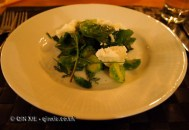 """Salad of Brussels sprouts, Finnish """"ricotta"""" and wild herbs with pine needle dressing, foraging with Sami Tallberg, Helsinki"""