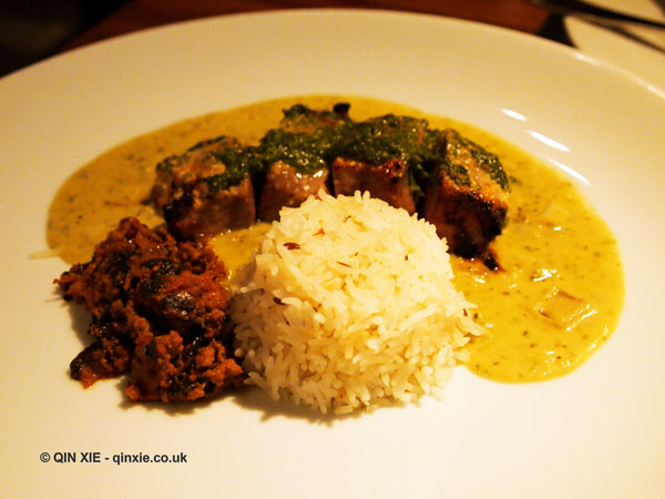 Chargrilled saddle of lamb with mint, chilli and red onions served with pilau rice, NYE 2013, Cinnamon Kitchen