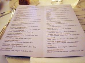 Menu, Chianti Classico 2014 dinner