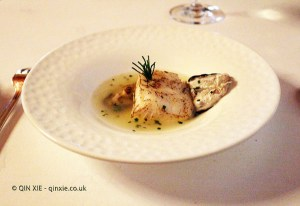 Hake and its kokotxa with oyster leaf at Pedro Subijana Akelarre, San Sebastian