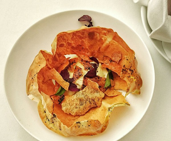 Cracker bread with hummous at Celeste Restaurant, The Lanesborough, Knightsbridge
