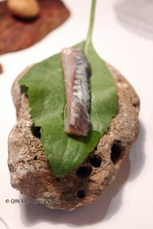 Rompepiedra leaf with mackerel, El Poblet, Valencia