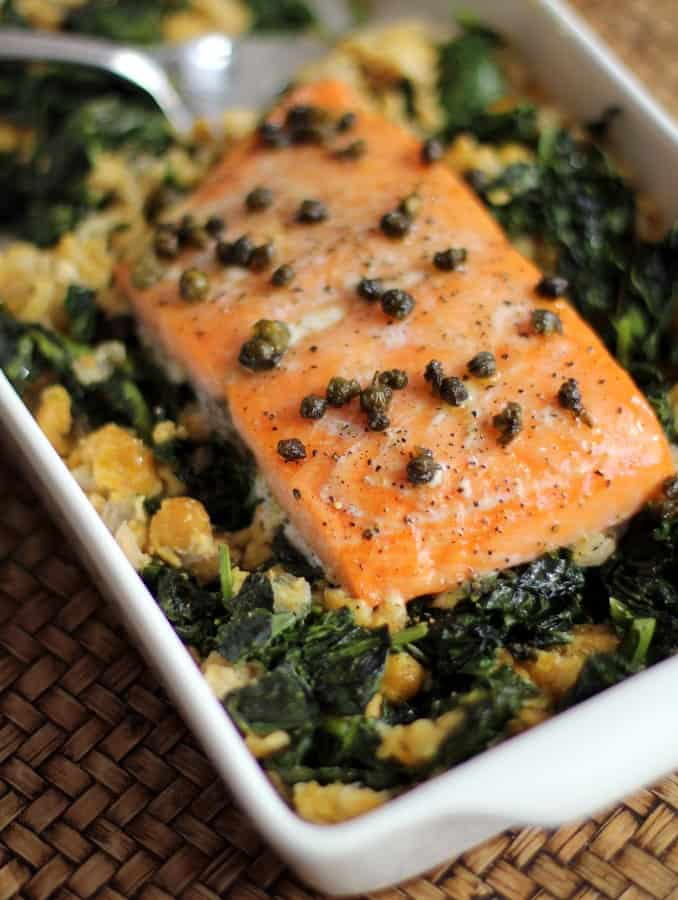 Slow-Cooked Salmon with Chickpeas and Greens