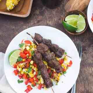 Chili Lime Glazed Beef Skewers with Charred Corn Salsa