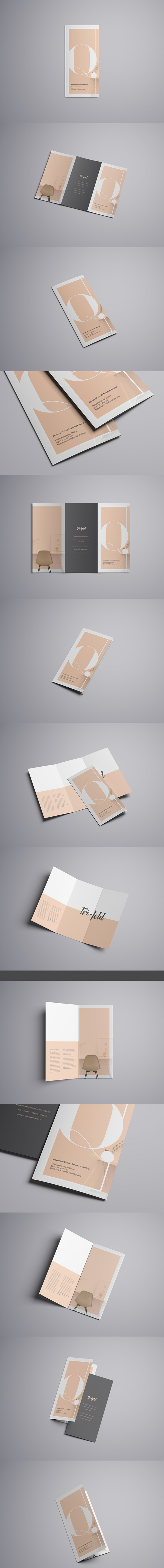 75  Free PSD Magazine  Book  Cover   Brochure Mock ups Advanced Tri Fold Brochure Mockup  Free Version