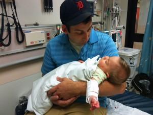 Chris holds Bekah during a recent ER visit