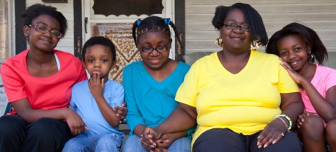 Kiarah relies on the support of her siblings (from left) Tia and Abdul, her mother and sister Ashanti.