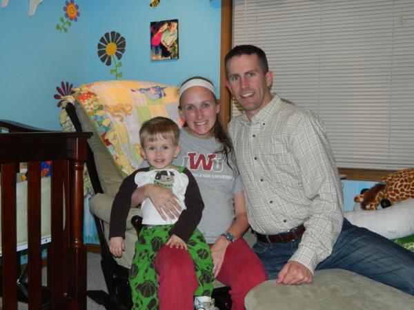 Jordan, Megs and Randy in P2's nursery