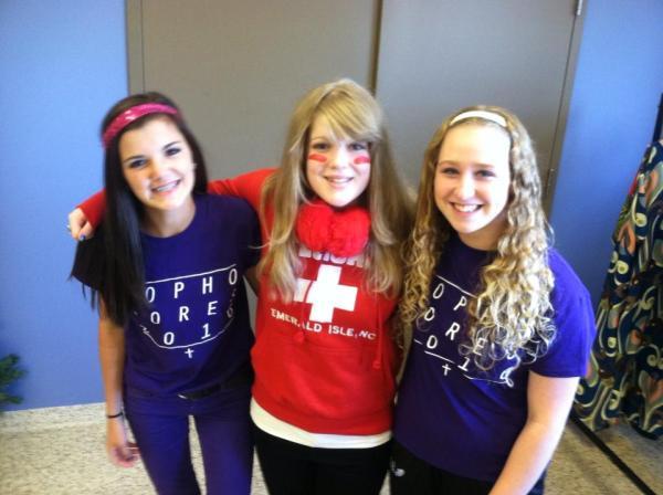 Maddie Meszaros (center) and her friends
