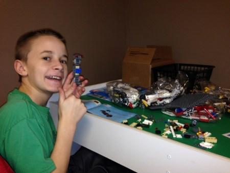 Trevor continues to build a Lego city