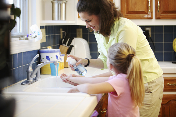 Hand washing is a simple way to prevent infection.