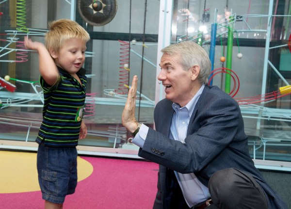 Sen. Rob Portman makes a connection with a patient during his visit.