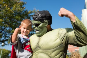 Superheroes swoop down on Akron Children's
