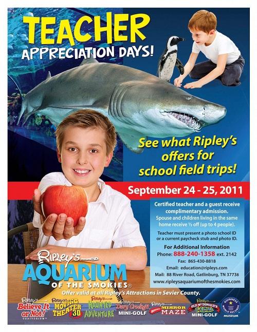 Ripley 39 S Aquarium Teacher Appreciation Days Sept 24 25