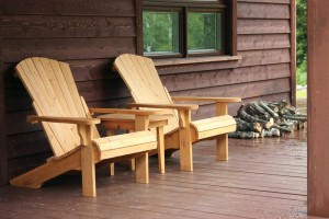 Wooden chairs to relax on a Gatlinburg cabin porch