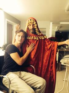 """Sammy Kusler as """"Moses"""" with star Blake Sheldon the last day of our shoot - fun is important on a movie set!"""