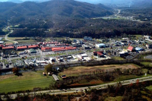 Aerial View of Pigeon Forge TN